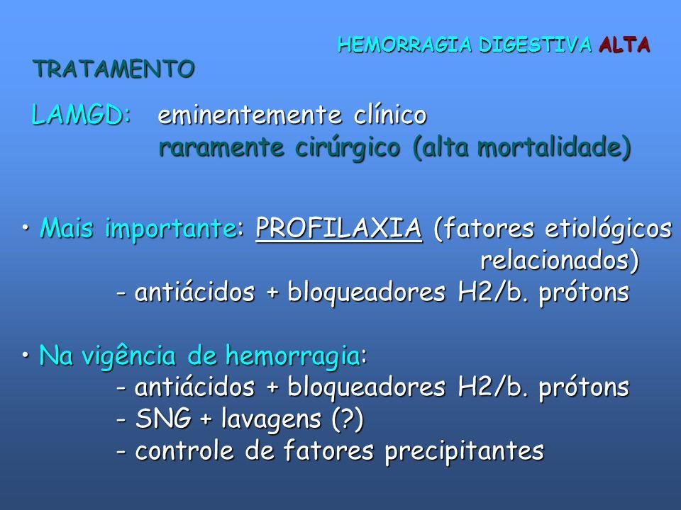 LAMGD: eminentemente clínico raramente cirúrgico (alta mortalidade)