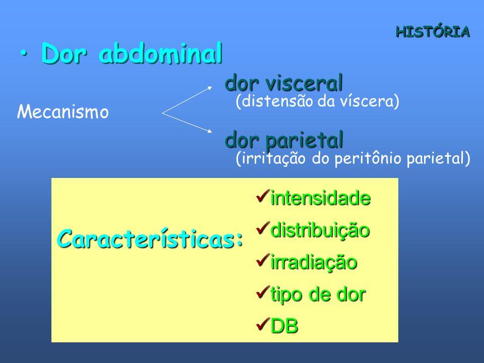 Dor abdominal Características: dor visceral dor parietal intensidade