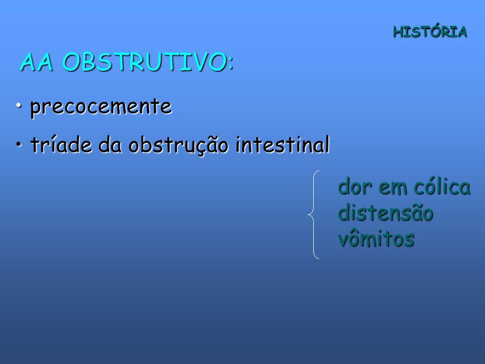 AA OBSTRUTIVO: precocemente tríade da obstrução intestinal