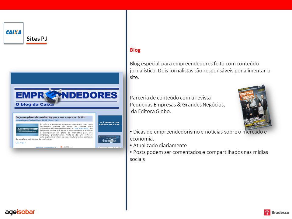 Sites PJ Blog. Blog especial para empreendedores feito com conteúdo jornalístico. Dois jornalistas são responsáveis por alimentar o site.