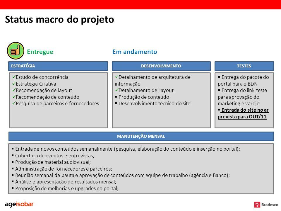 Status macro do projeto