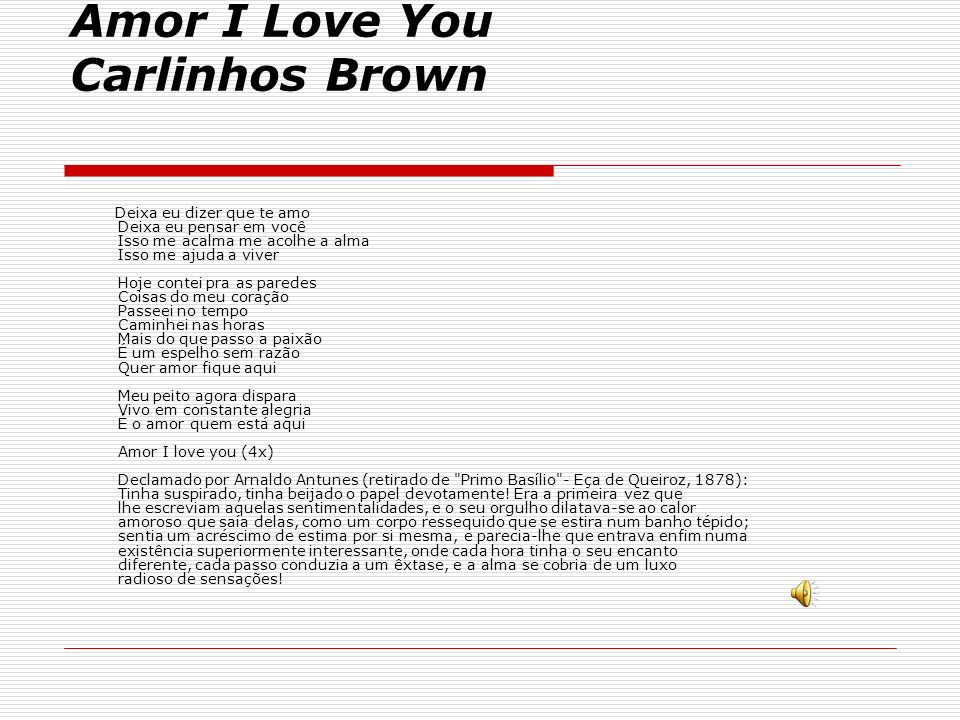 Amor I Love You Carlinhos Brown
