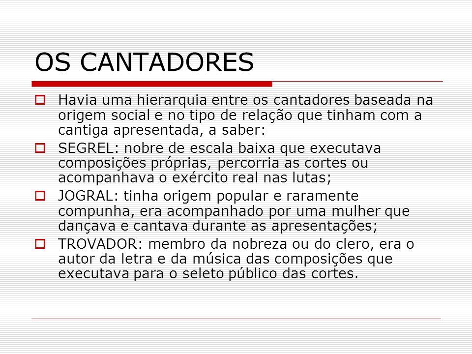 OS CANTADORES Havia uma hierarquia entre os cantadores baseada na origem social e no tipo de relação que tinham com a cantiga apresentada, a saber: