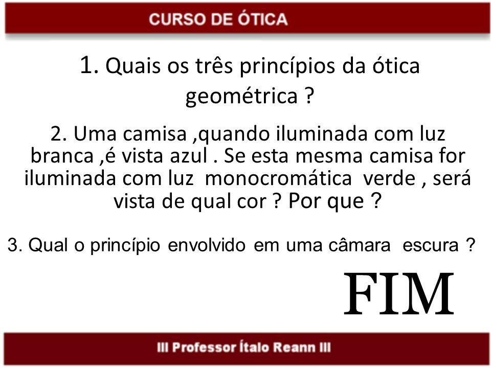 1. Quais os três princípios da ótica geométrica