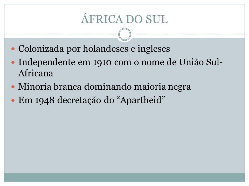 ÁFRICA DO SUL Colonizada por holandeses e ingleses