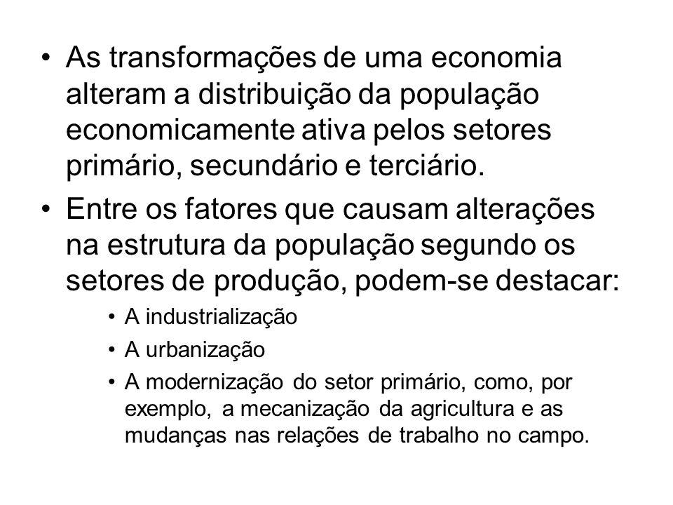 As transformações de uma economia alteram a distribuição da população economicamente ativa pelos setores primário, secundário e terciário.