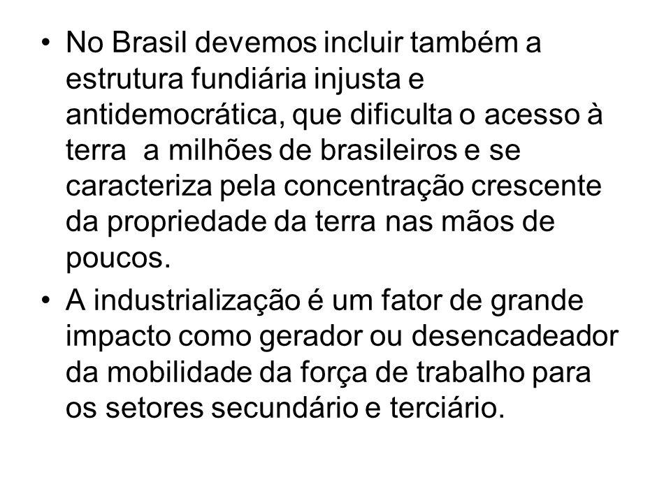 No Brasil devemos incluir também a estrutura fundiária injusta e antidemocrática, que dificulta o acesso à terra a milhões de brasileiros e se caracteriza pela concentração crescente da propriedade da terra nas mãos de poucos.