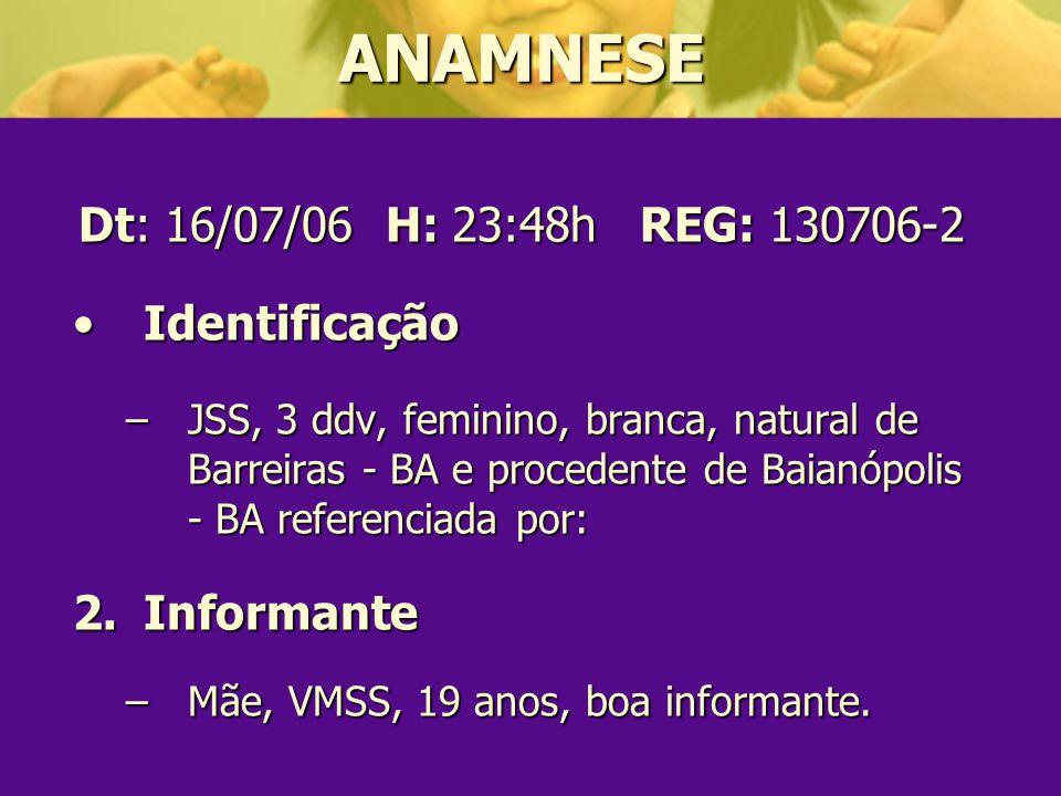 ANAMNESE Dt: 16/07/06 H: 23:48h REG: 130706-2 Identificação Informante