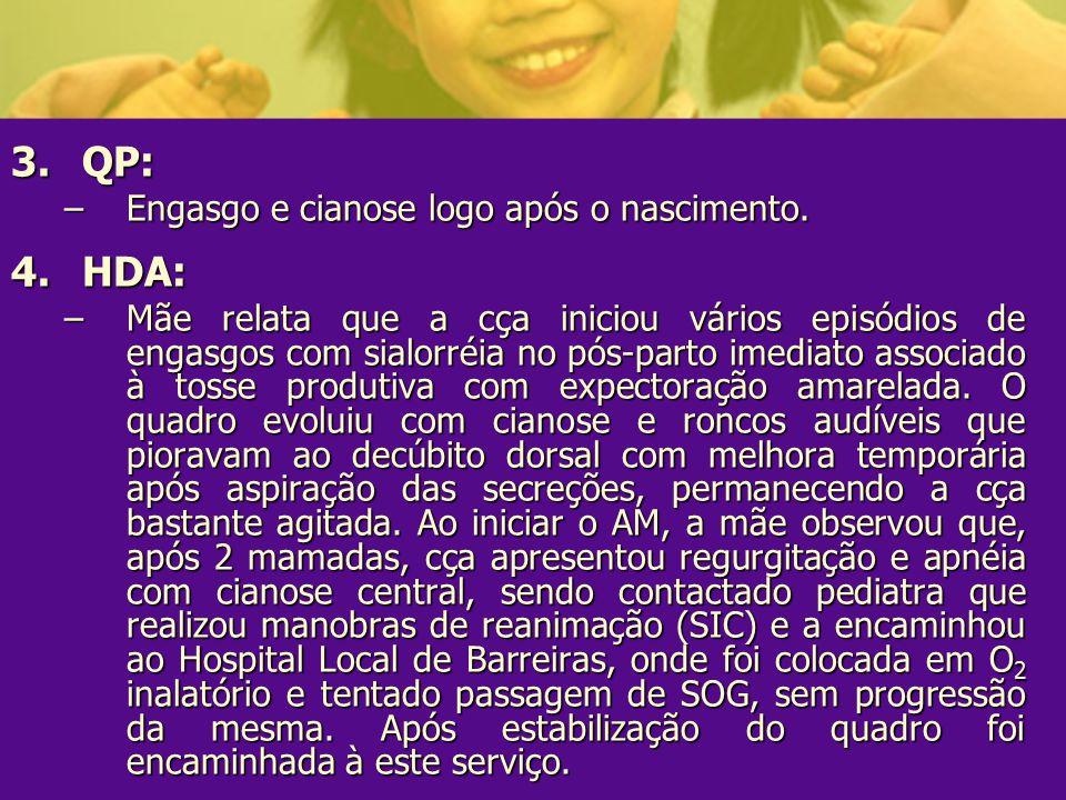QP: HDA: Engasgo e cianose logo após o nascimento.