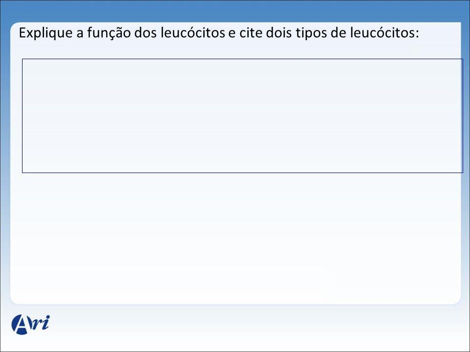 Explique a função dos leucócitos e cite dois tipos de leucócitos: