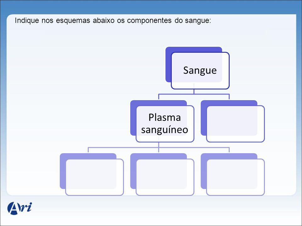 Indique nos esquemas abaixo os componentes do sangue: