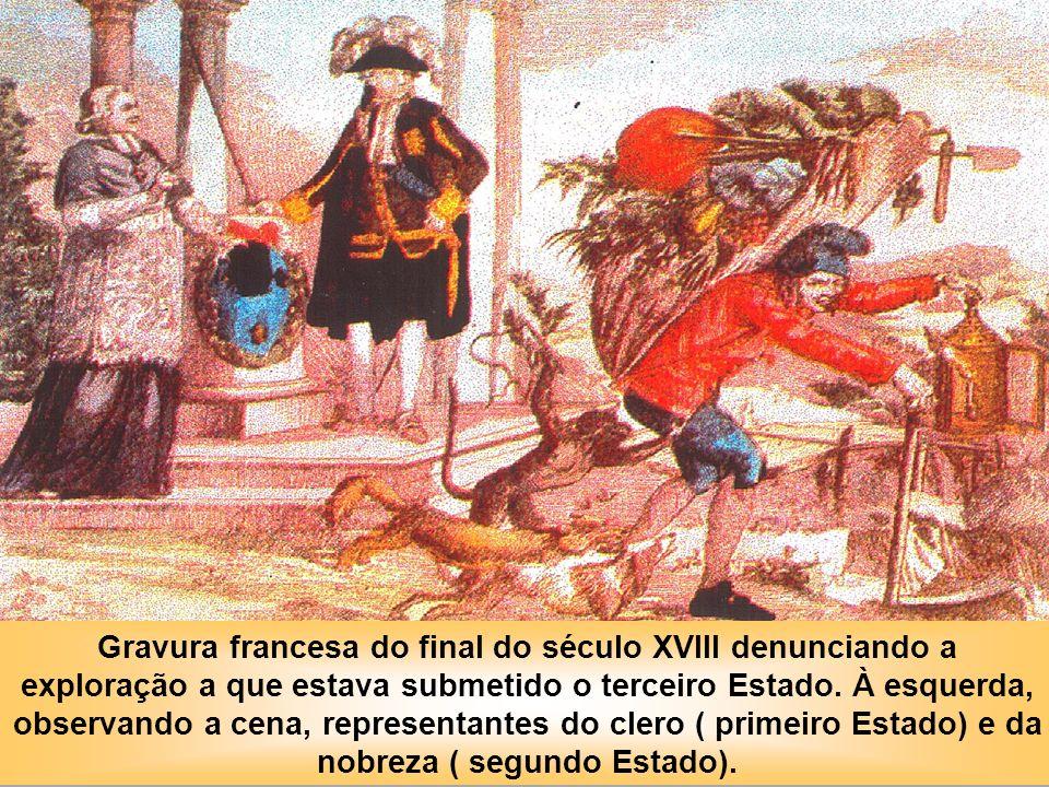 Gravura francesa do final do século XVIII denunciando a exploração a que estava submetido o terceiro Estado.