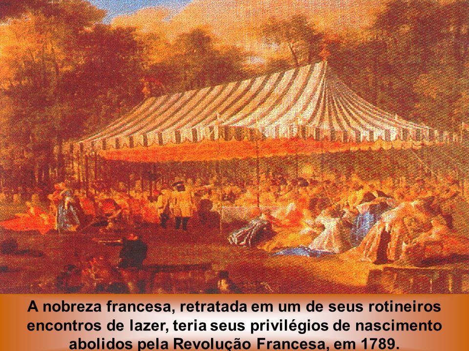 A nobreza francesa, retratada em um de seus rotineiros encontros de lazer, teria seus privilégios de nascimento abolidos pela Revolução Francesa, em 1789.