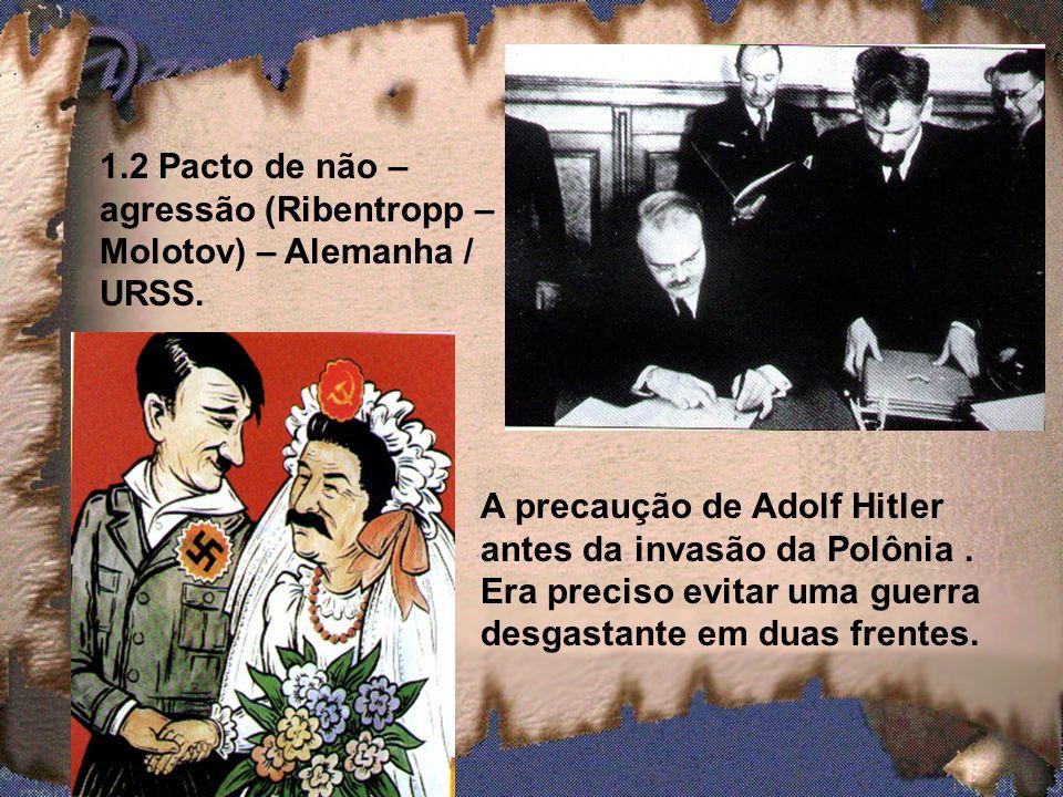 1.2 Pacto de não – agressão (Ribentropp – Molotov) – Alemanha / URSS.
