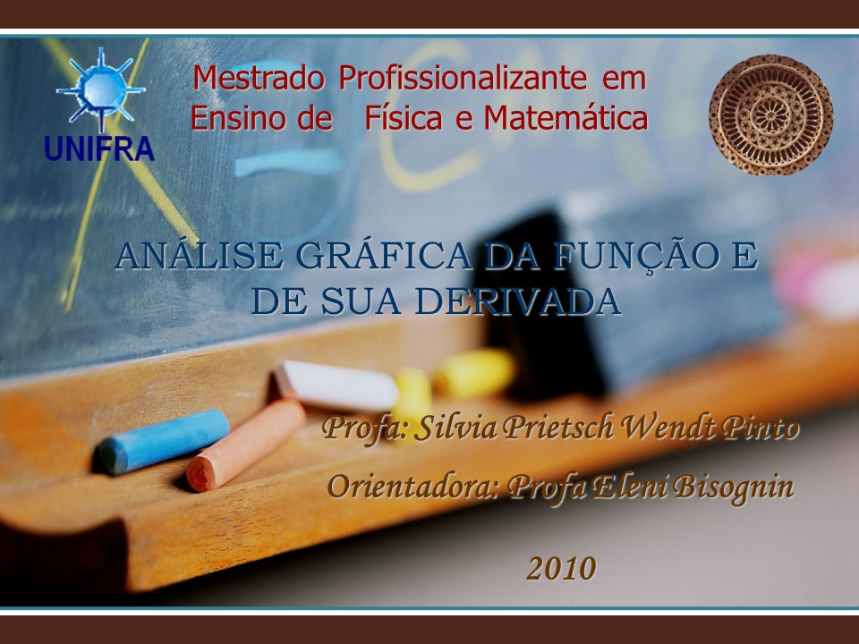 ANÁLISE GRÁFICA DA FUNÇÃO E DE SUA DERIVADA