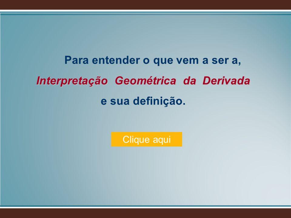 Para entender o que vem a ser a, Interpretação Geométrica da Derivada e sua definição.