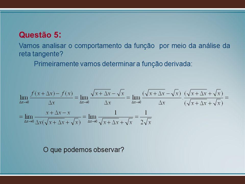 Questão 5: Vamos analisar o comportamento da função por meio da análise da reta tangente Primeiramente vamos determinar a função derivada: