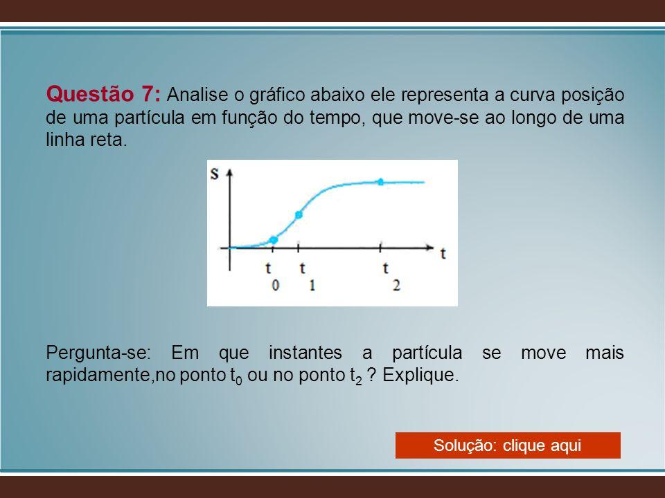 Questão 7: Analise o gráfico abaixo ele representa a curva posição de uma partícula em função do tempo, que move-se ao longo de uma linha reta.