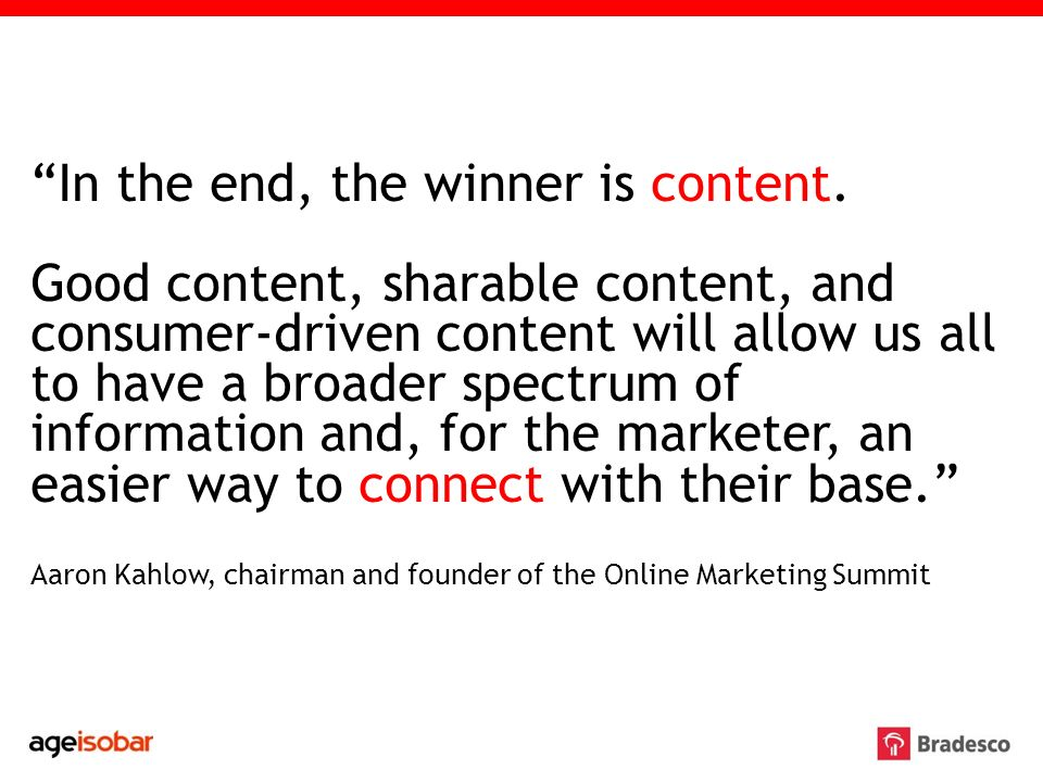 In the end, the winner is content.