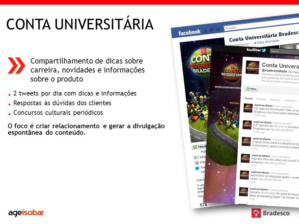 CONTA UNIVERSITÁRIA . 2 tweets por dia com dicas e informações