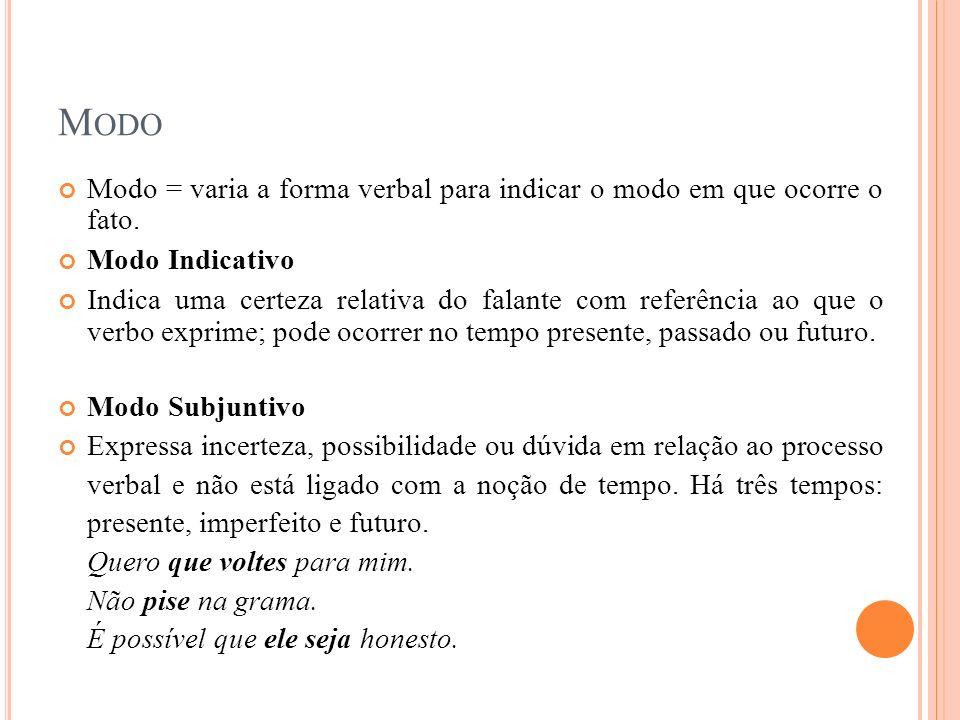 Modo Modo = varia a forma verbal para indicar o modo em que ocorre o fato. Modo Indicativo.