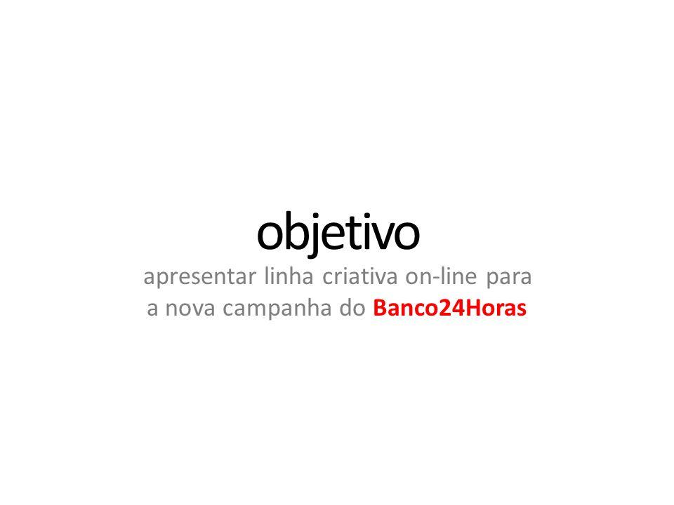 apresentar linha criativa on-line para a nova campanha do Banco24Horas