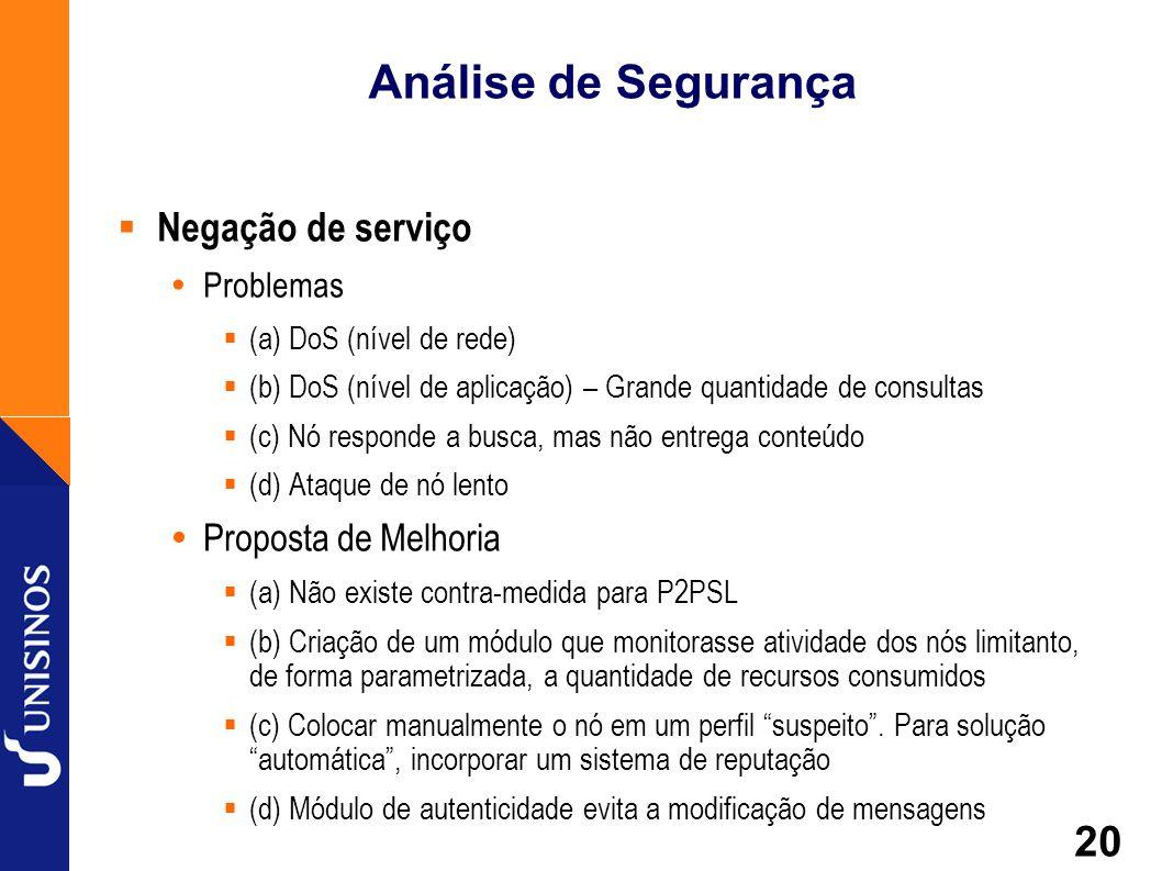 Análise de Segurança Negação de serviço Proposta de Melhoria Problemas