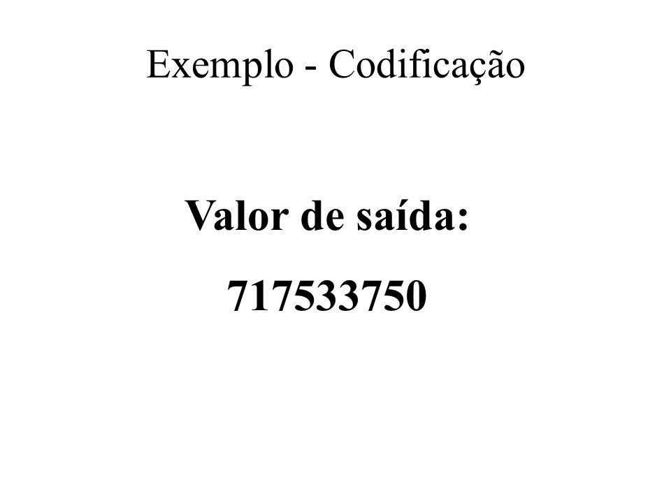 Exemplo - Codificação Valor de saída: 717533750