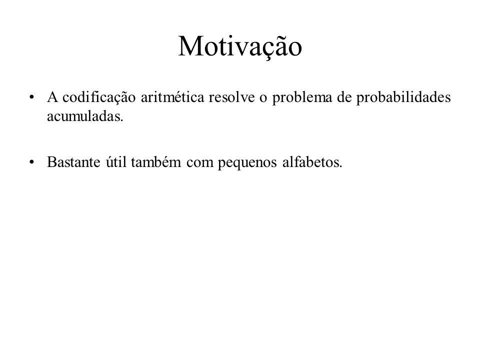 Motivação A codificação aritmética resolve o problema de probabilidades acumuladas.