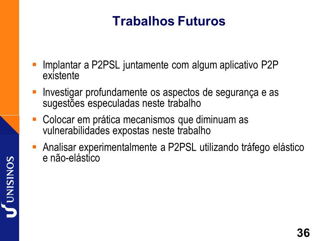 Trabalhos Futuros Implantar a P2PSL juntamente com algum aplicativo P2P existente.