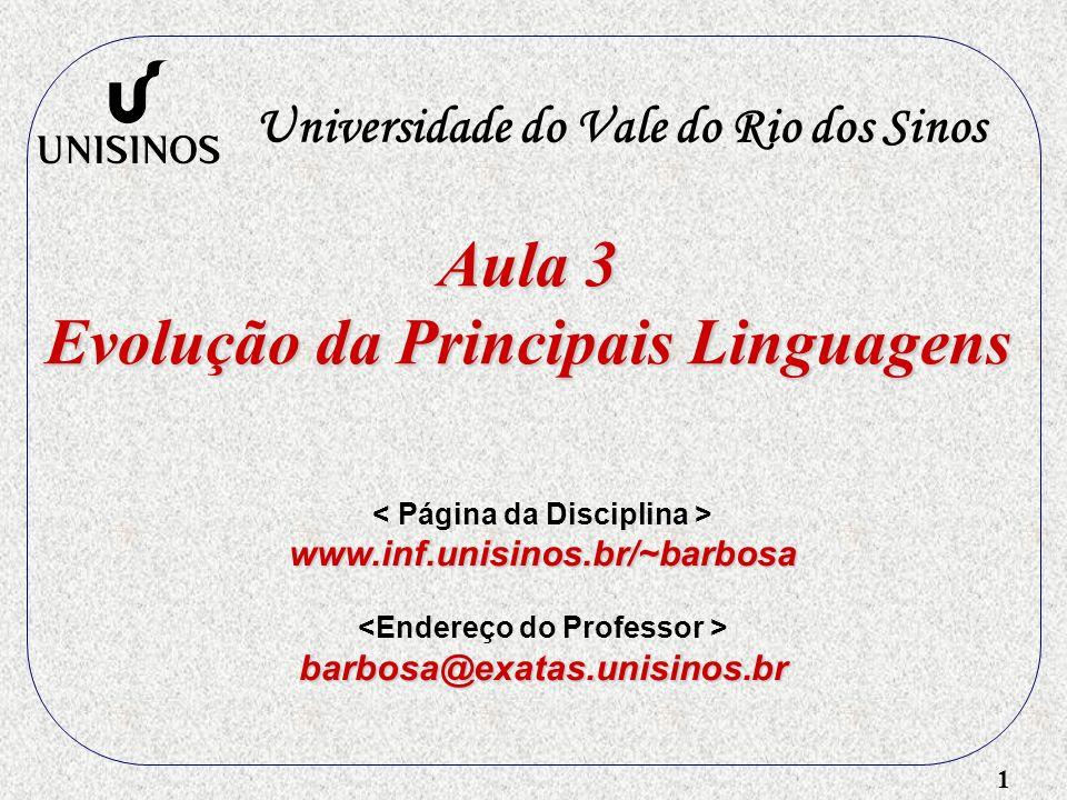 Aula 3 Evolução da Principais Linguagens