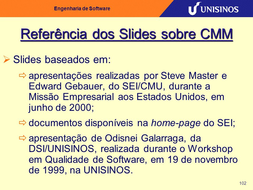 Referência dos Slides sobre CMM