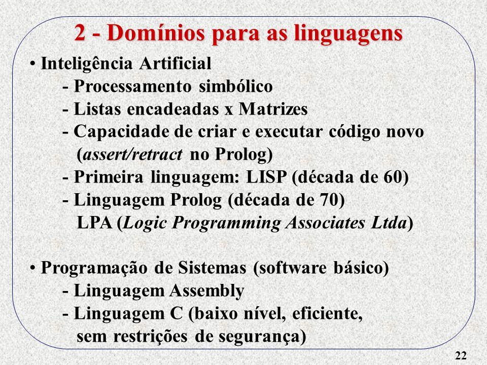 2 - Domínios para as linguagens