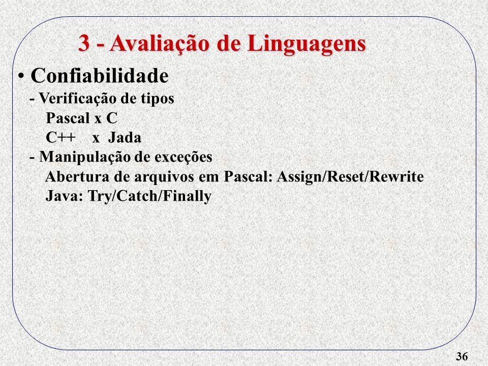3 - Avaliação de Linguagens
