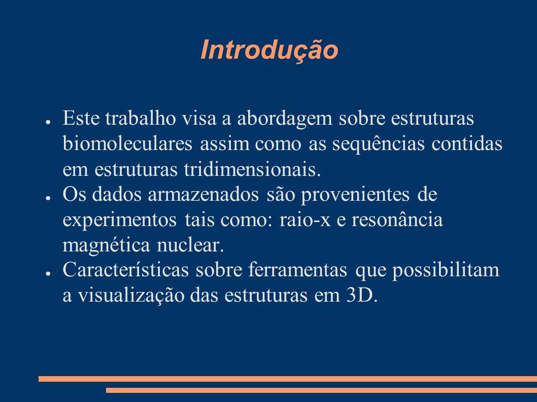 Introdução Este trabalho visa a abordagem sobre estruturas biomoleculares assim como as sequências contidas em estruturas tridimensionais.