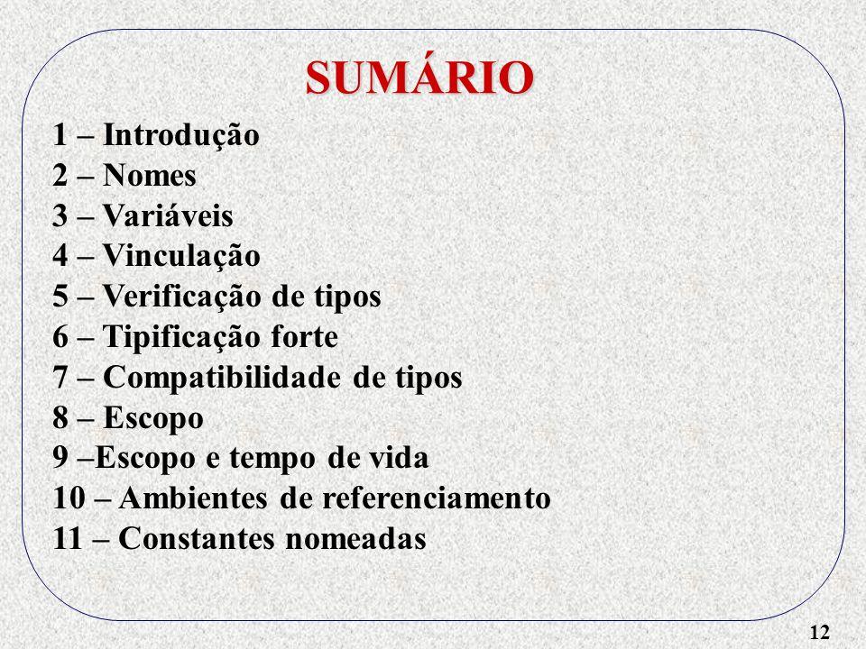 SUMÁRIO 1 – Introdução 2 – Nomes 3 – Variáveis 4 – Vinculação