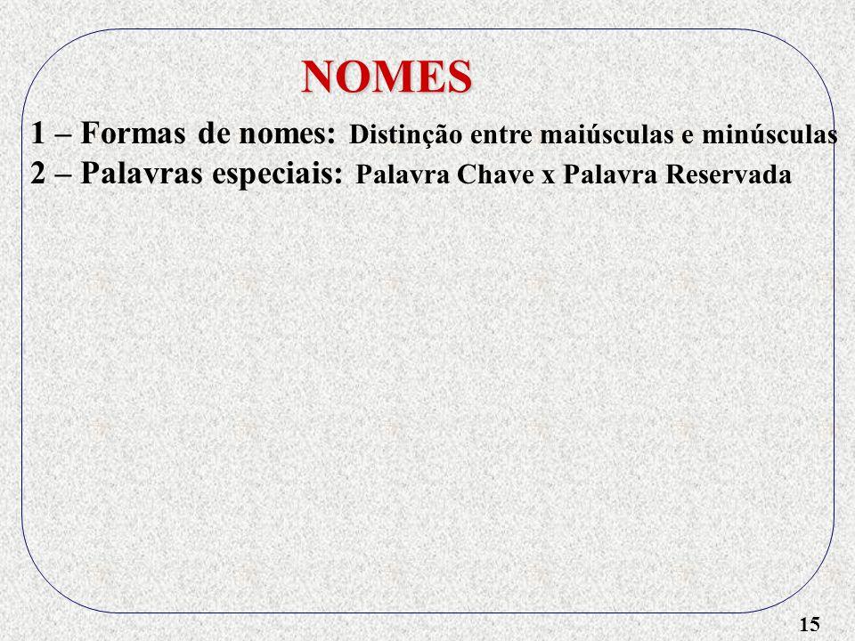 NOMES 1 – Formas de nomes: Distinção entre maiúsculas e minúsculas