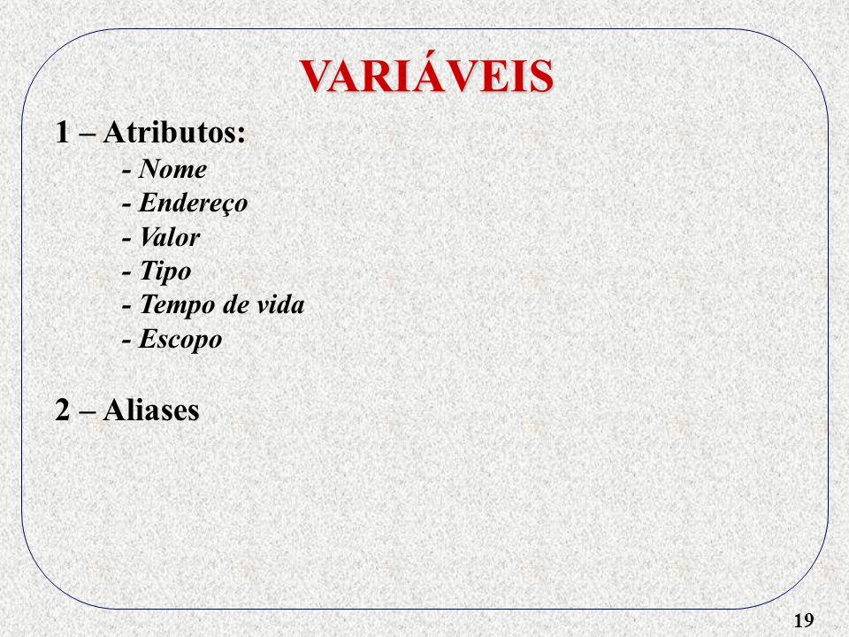 VARIÁVEIS 1 – Atributos: 2 – Aliases - Nome - Endereço - Valor - Tipo