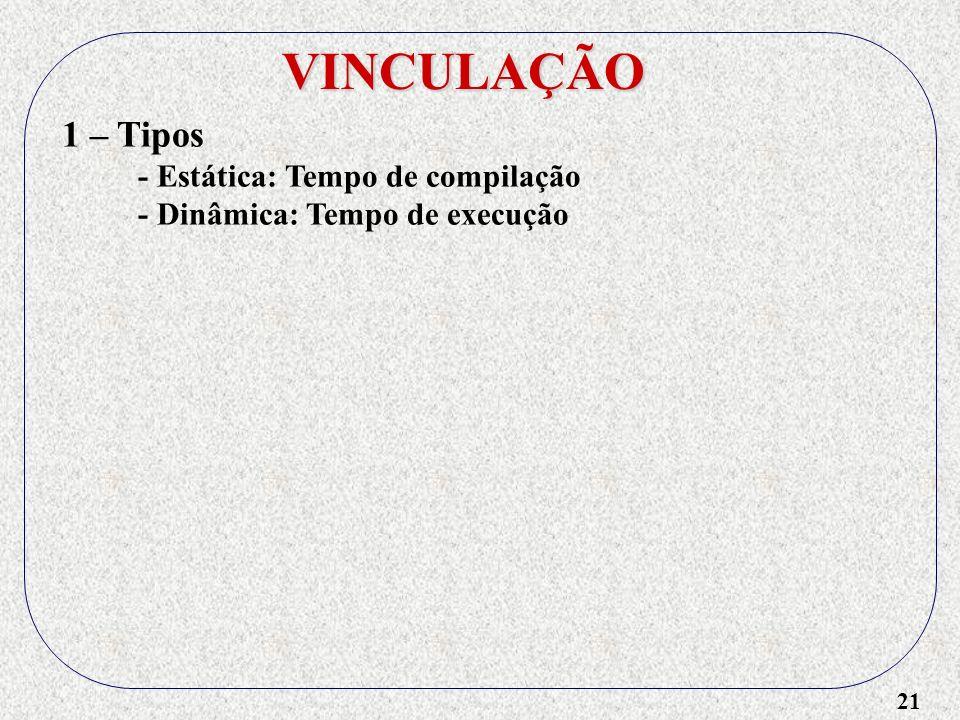 VINCULAÇÃO 1 – Tipos - Estática: Tempo de compilação