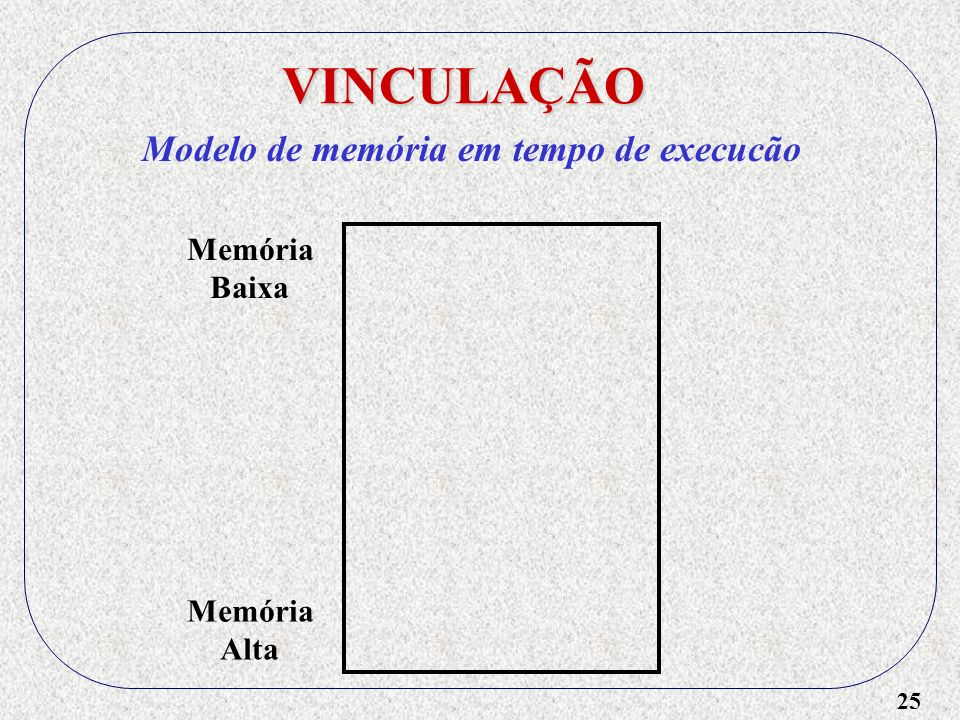 VINCULAÇÃO Modelo de memória em tempo de execucão Memória Baixa