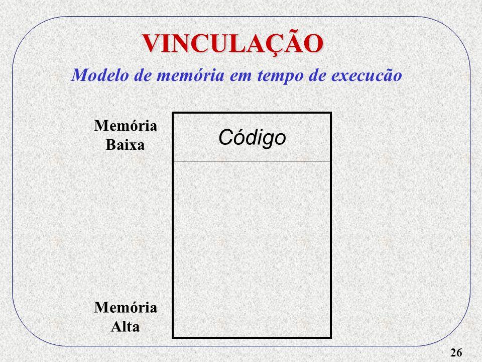VINCULAÇÃO Código Modelo de memória em tempo de execucão Memória Baixa