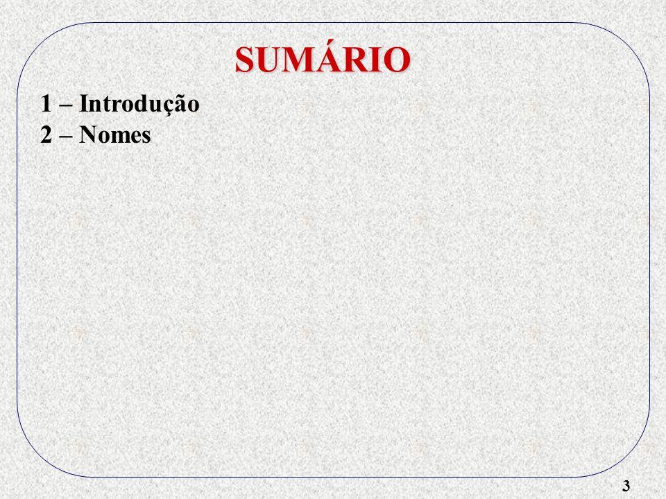 SUMÁRIO 1 – Introdução 2 – Nomes