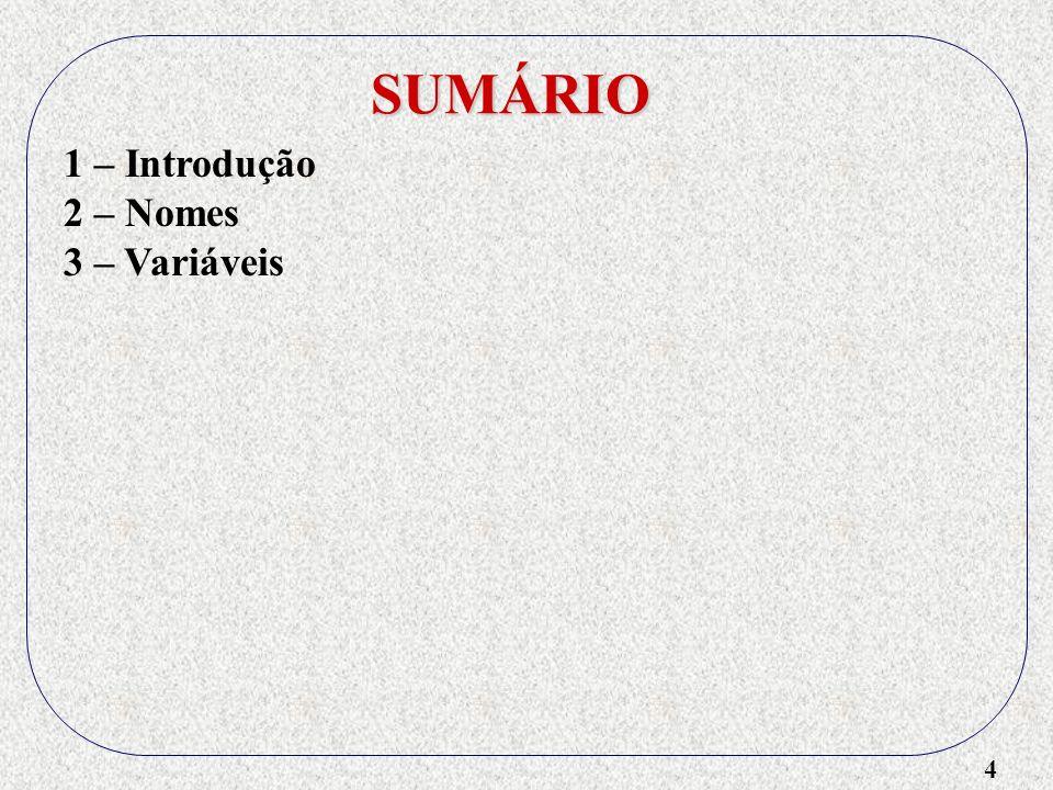 SUMÁRIO 1 – Introdução 2 – Nomes 3 – Variáveis