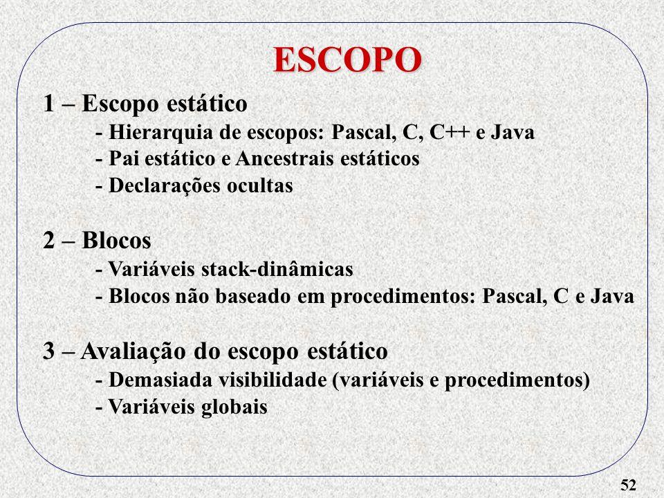 ESCOPO 1 – Escopo estático 2 – Blocos 3 – Avaliação do escopo estático