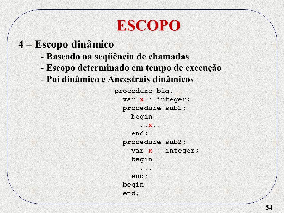 ESCOPO 4 – Escopo dinâmico - Baseado na seqüência de chamadas