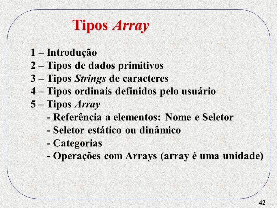 Tipos Array 1 – Introdução 2 – Tipos de dados primitivos