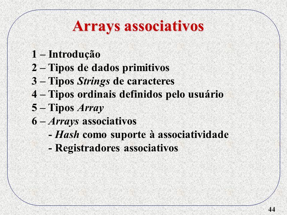 Arrays associativos 1 – Introdução 2 – Tipos de dados primitivos