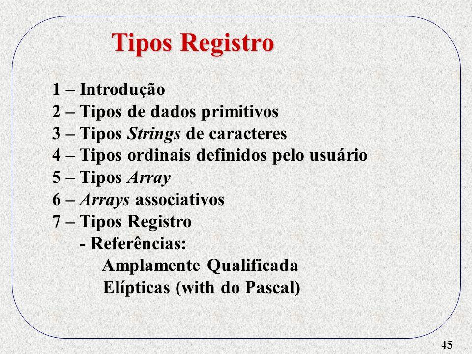 Tipos Registro 1 – Introdução 2 – Tipos de dados primitivos