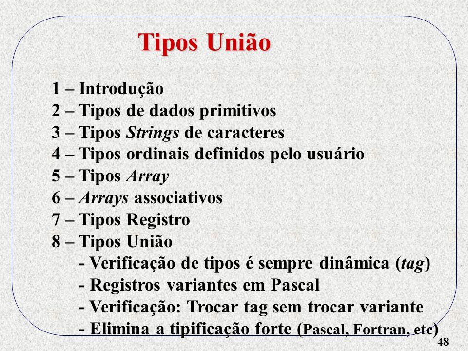 Tipos União 1 – Introdução 2 – Tipos de dados primitivos