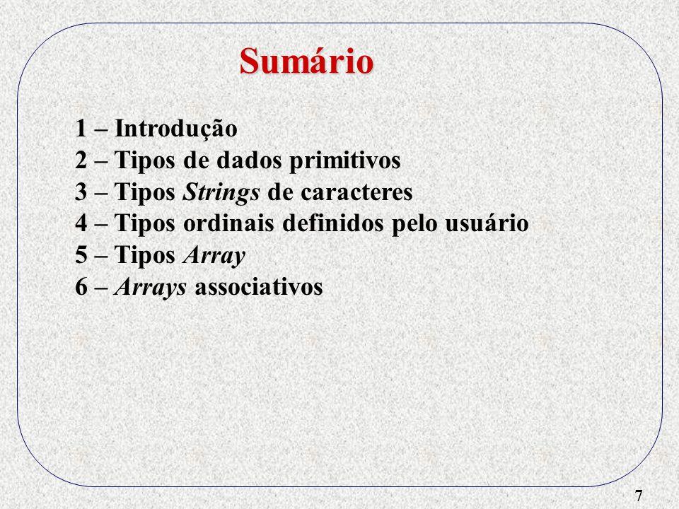 Sumário 1 – Introdução 2 – Tipos de dados primitivos